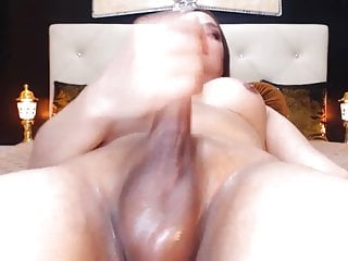 Pretty Hot Tranny Wanking Her Huge Cock