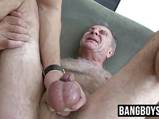 Hung young jock spanks old and cums in...