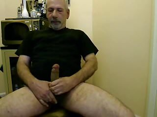 Bear jacking his hard cock...