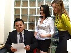 CFNM femdom – secretaries humiliate small Asian penis