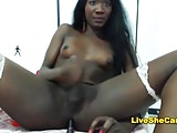 Sexy black shemale jerking on Webcam
