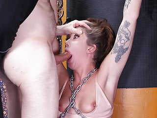 Chained and brutally face fucked to tears leah...