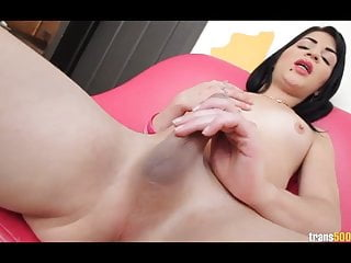 Lovely latin tranny with hungry...