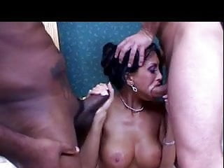 The brunette got pleasure interracial sex...
