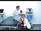 Horny Blonde Doctor gets Cock