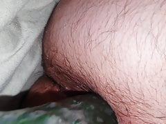 Fucking my hairy ass with a cucumber
