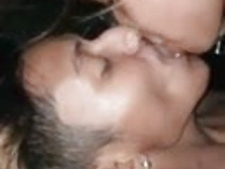 Girlfriend is giving her boyfriend hot kisses...