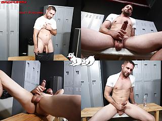 Matt wingman starts stroking thick veiny cock...