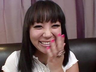 Asian schoolgirl gets face blasted...