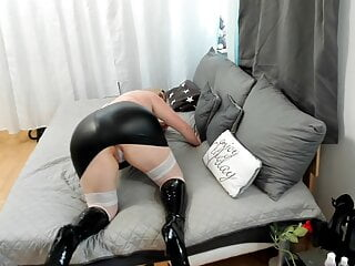 hot doggy fuck in patent leather boots, fucked nicely