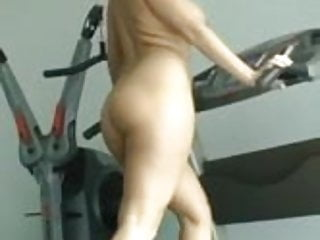 Naked on treadmil while wearing high heels...