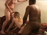 Interracial cuckold group sex party with shared girlfriend