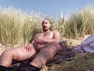 Outdoor, Exhib. Jerking off in the dunes.
