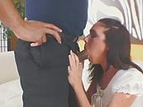 Brunette hottie wraps her pretty mouth around a massive black shaft
