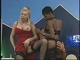 Mature Blonde, Hot Ebony in foursome