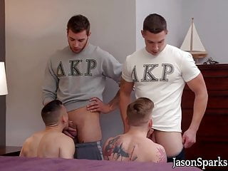 Amateur bareback sex with four guys ready for hardcore fun