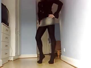Sexy denim skirt pantyhose...