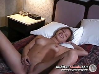 Canadian Native geek amateur GF with puffy nipples fingering