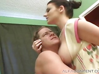 Busty brunette gets her and jizz in her...