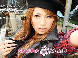 Handsome brunette Sakura Kiryu sucks a big hairy fuck stick