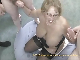 32HH housewife CurvyClaire in 14 man bukkake session