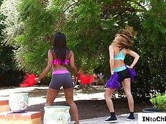 Black cheerleading dyke sixtynining gf after practice