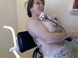 Hot Wheeler Babe Shower and Masturbating Show