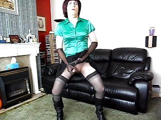 Sue plays in her seemless pantyhose