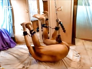 naked slave exposed BDSM CBT tied at balls dildo deep in ass