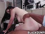 Busty brunette babe deeply fucked by black anaconda dick