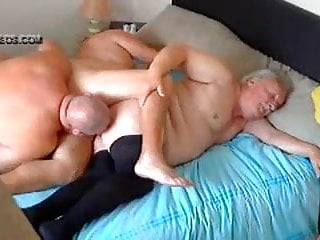 Three chubby old men fucking
