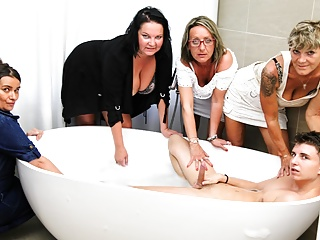 The Adult Video Experience – My First Grandma Orgy in a Classy Bathroom