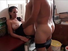 Sexy German MILF with big saggy tits with neighbor in garage