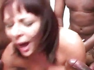 Milf fucked by bench of...