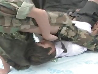 Chinese boy Army Uniform Bareback