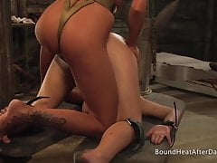 Dripping Wet Lesbian Slave Pussy From Fingering And Strapon