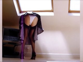 Tuning In Black Nylon Stockings