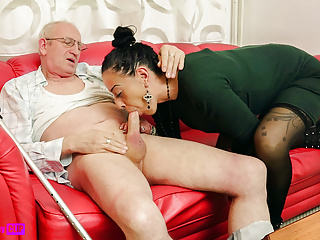 Teen Blowjob Handjob video: Not Granddaughter puts pressure on grandfather