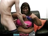 Huge ebony bitch takes it from behind