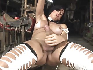 Stokes her giant clitty...