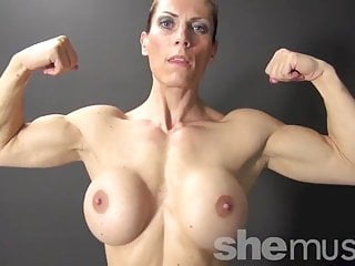 Naked female bodybuilder big biceps and boobs...