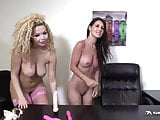 Young & beautiful lesbians lick and play with pussy