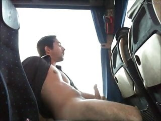 Exhibitionist wanking in a bus...