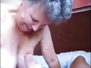 Blowjob with cumshot on her big breasts...