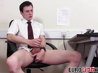 Office twink working on his dick instead of...
