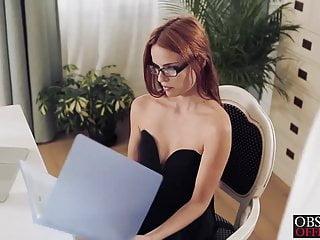 Sexy susana is bent over her desk...