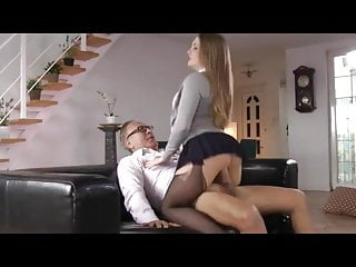 Nyloned fucked by older man...