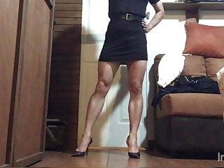 Sexy black mini dress and stiletto high heels