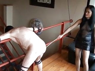 Chinese mistress spank her slave...