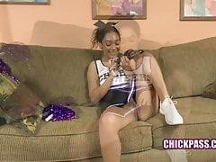 ChickPass - Cheerleader Sarah fucks her tiny twat
